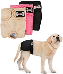 LEMON PET Female Dog Diapers Washable Reusable Cosy Puppy Diapers Doggy Sanitary Wraps Physiological Panties for Small Medium Large Dogs Underwear Nappies, 3pcs Black Pink Beige