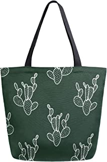 Mnsruu Canvas Handtasche Schultertasche für Damen, Handgezeichneter Kaktus, Dunkelgrün, lässig, Strand, Multifunktionstasche für Damen