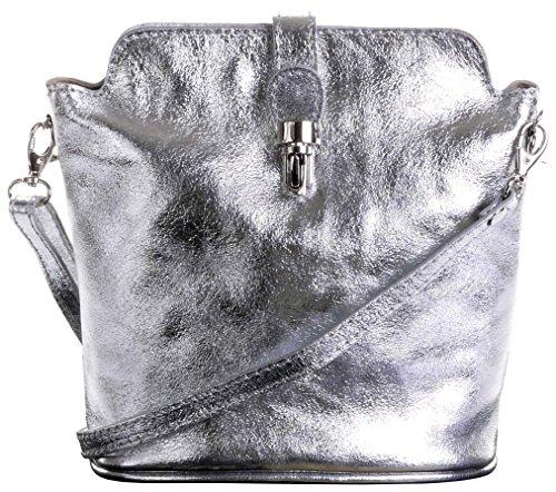 Primo Sacchi Damen Weiches Italienisches Leder handgefertigte verstellbare Riemen Cross Body oder Umhängetasche Handtasche Metallisch Silber