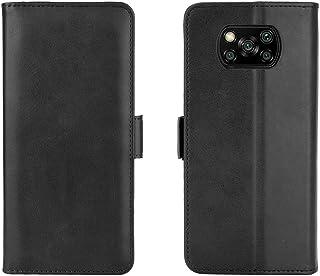 Capa Capinha Carteira De Couro Preta Para Xiaomi Pocophone Poco X3 com Tela de 6.67 Polegadas Flip Magnética com Suporte e...
