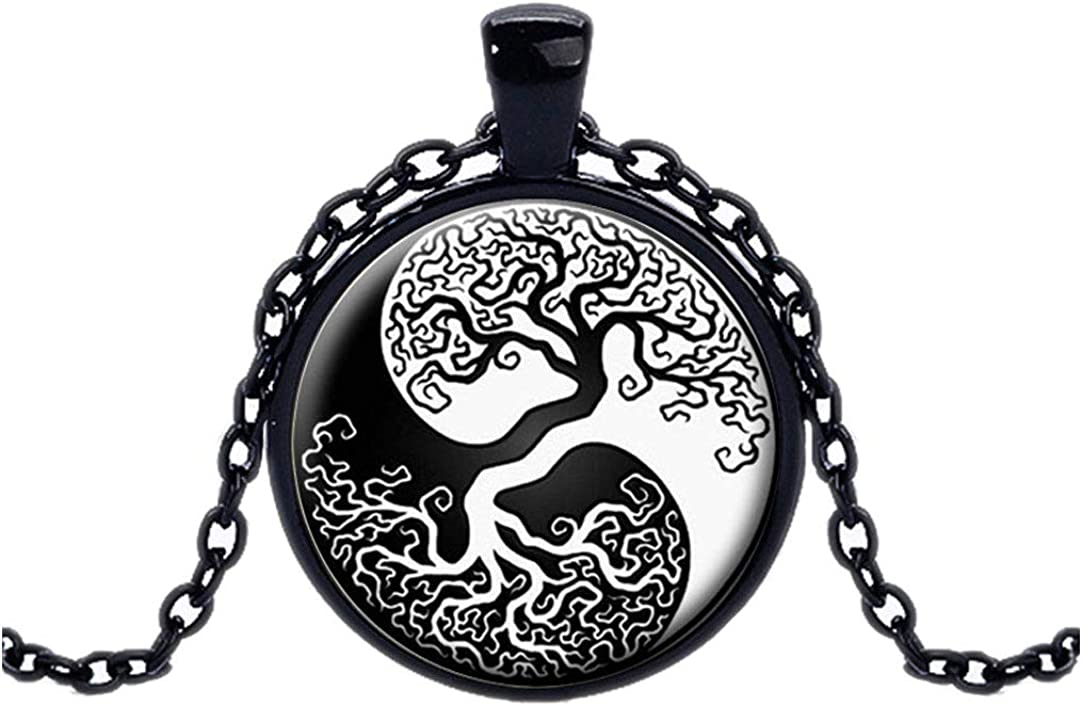 FOY-MALL Fashion Time Gem Tree of Life Pendant Chain Necklace XL1545N