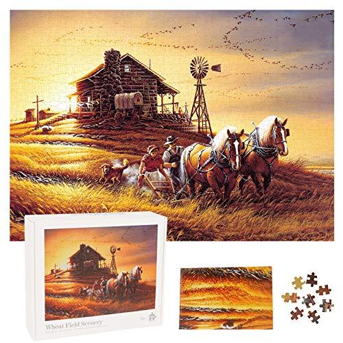 Herefun Puzzle 1000 Teile, Klassische Puzzles, Kreative Klassische Puzzle, Impossible Puzzle, Jigsaw Lernspielzeug für Kinder, Jugendliche Puzzlespiel Spielzeug (Weizenfeld Landschaft)