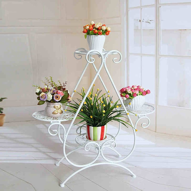 Flower Stand Shelf Multi Storey Metal Painting Plant Pot Rack Indoor Living Room Flower Stand Balcony Flower Rack (color   White)