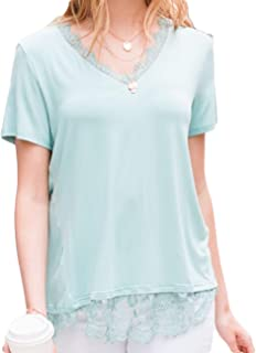 Amaryllis Apparel Women's Short Sleeve Tee with Lace