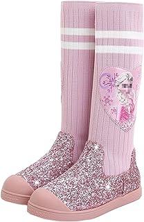 Fanessy Niñas Bailarina Princesa Zapatos de tacón alto Botas altas Botas de vacaciones de Navidad Boda Fiesta de invierno ...