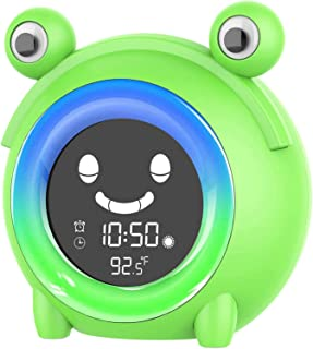 Blan Väckarklocka för barnrum barn sovträning klocka för småbarn väckarklocka med 5 färger nattlampa Sound Machine (groda)