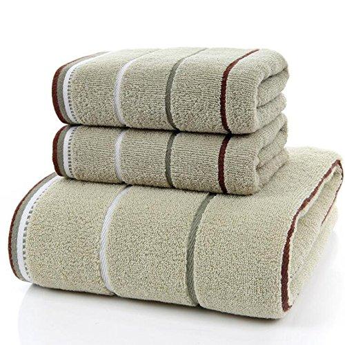 zoomlie Juego de 3 toallas de baño de mano de algodón puro, 3 colores, calidad de hotel, 70 x 140 cm, 35 x 75 cm, juego de 1 toalla de baño, 2 toallas de mano, blanco, marrón, verde, 600 g