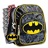DC Comics Justice League Batman Backpack for Boys Toddlers Kids ~ Deluxe 12 Inch Batman Preschool Toddler Backpack with Detachable Cape and Stickers (Batman School Supplies)