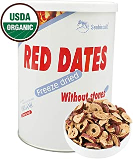 Seabiscuit Healthy Snacks - FreezeDried Sliced Dates Astronaut Food, Organic Crispy Delicious Fruit, Natural Flavor Seedless Jujube 4.22 oz Cans