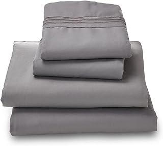 Where The Polka Dots Roam Microfiber Easy Care Luxury Sheet Set, Queen, Gray