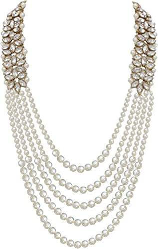 Catalyst Jewellery Designer White Color Four Line Pearl Maharaja Haar with Stone Dulha Necklace Groom Moti Mala for Men