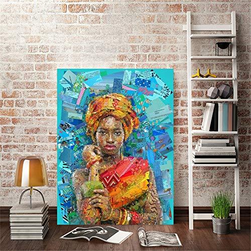 wZUN Mosaico Moderno Retrato Carteles e Impresiones murales Lienzo Pintura Deseo Creativo Mujeres imágenes para decoración de Sala de Estar 50x70 cm
