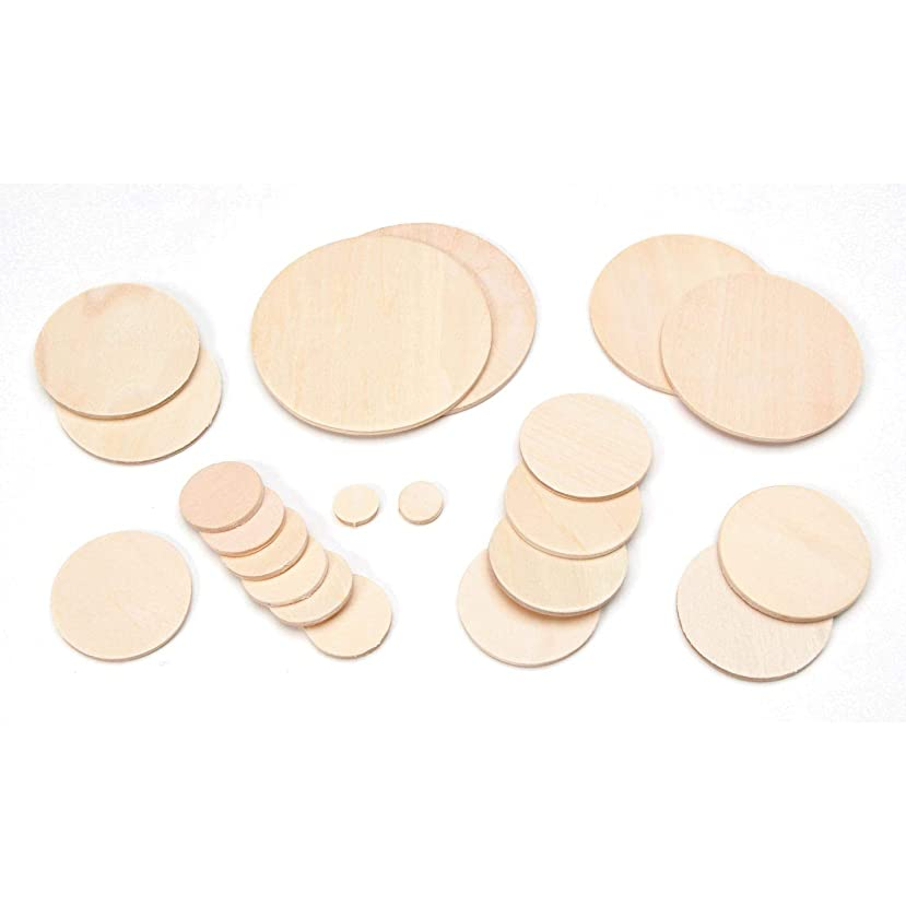 Bulk Buy: Darice DIY Crafts Wood Cutout Circle Assorted Sizes 21 pieces Pack (3-Pack) 9160-34