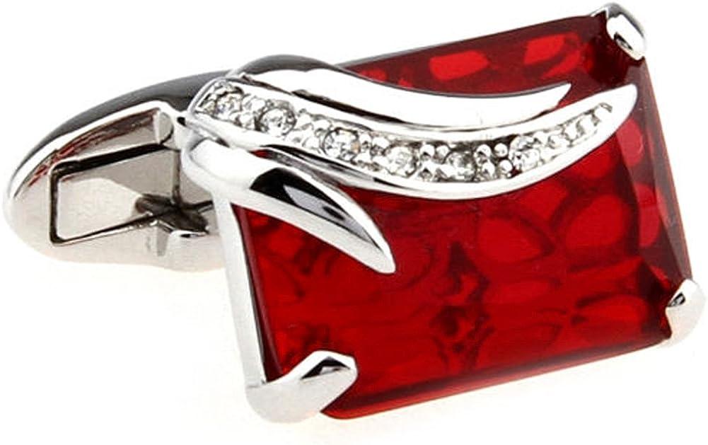 Mens Executive Cufflinks Designer Kenneth Fox Scarlet Red Wine Gemstone Cuff Links