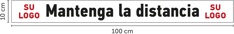 Mantenga LA Distancia Oedim Pack de 10 vinilos Adhesivos para Suelo 100x10cm con el Texto Su Logo