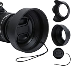 55MM Lens Hood Set (Tulip Flower + Collapsible Rubber Lens Hood+Center Pinch Lens Cap)