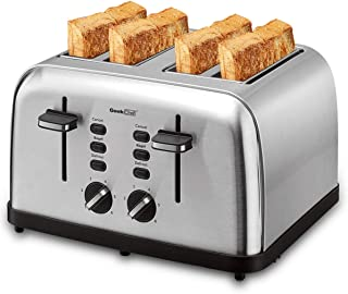 Toaster 4 Slice, Geek Chef Extra Wide Slots Stainless Steel Four Slice Toaster, Bagel/Defrost/Cancel Function 6 Browning Settings Auto Pop-up Remoable Crumb Tray (4-slice)