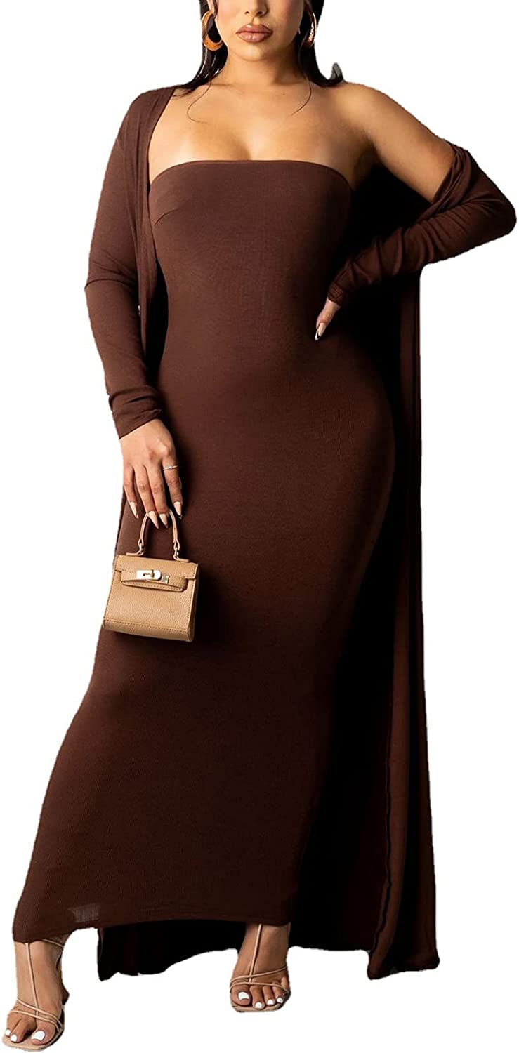 MESLIMA Women's Casual 2 Piece Set Free Shipping New Long Max 74% OFF Cardig Solid Sleeve