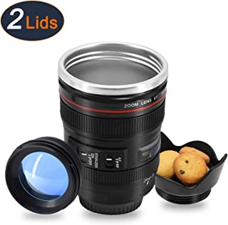 Wrcibor Coffee Mug with Transparent Lid Camera Lens Cup Stainless Steel Caniam 24-105mm, 12oz …