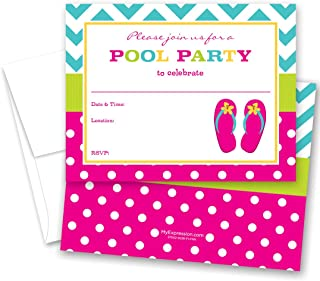 24 Fill-in Girl Flip Flops Pool Party Invitations