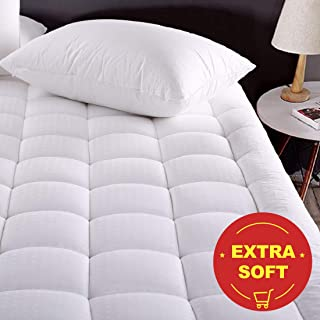 MEROUS Queen Size Cotton Mattress Pad - Pillow Top Quilted Mattress Topper,Fitted 8-21 Inch Deep Pocket Mattress Pad Cover