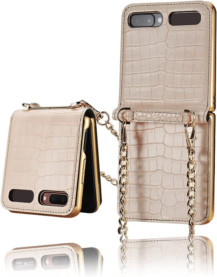 Yatchen Leather Case Designs Samsung Galaxy Z Flip,Cute Luxury Bag Design with Metal Chain for Women Crocodile Skin Cover Case with Makeup Mirror Magnetic Flip Protector for Galaxy Z Flip 5G (Khaki)