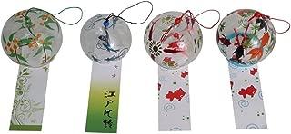 4-piece Pack Handmade Suncatcher Japanese Edo Furin Wind Chimes Home Living Decor Birthday Gift Father's Day Christmas Gift (Fish)