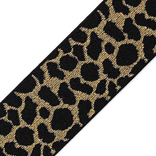 Trim 3-Yards 2' Elastic Stretch Ribbon, Stretch Elastic Band, Headband, Hand Band and Waist Belt, TR-11117 (Gold/Black)
