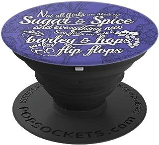 Craft Beer Girl Gang Barley Hops & Flip Flops Funny Poem - PopSockets Grip and Stand for Phones and Tablets