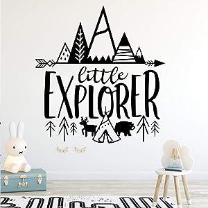 YOKIKI Tribal Little Explorer Vinyl Wall Decal Art Sticker for Boy's Room Decor Mural Kids Room Wall Decoration