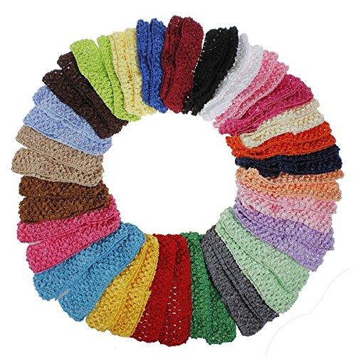 Preisvergleich Produktbild Tinksky 50pcs Baby Mädchen Kleinkind elastischem Crochet Haarband Stirnbänder Haargummis in 25 verschiedenen Farben