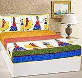 RajasthaniKart® Comfort Rajasthani Jaipuri Traditional Sanganeri Print 144 TC Cotton Double Size Bedsheet