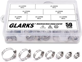 Glarks 50 Piece 8-38mm Range Stainless Steel Adjustable Worm Gear Hose Clamps Assortment Kit for Water Pipe
