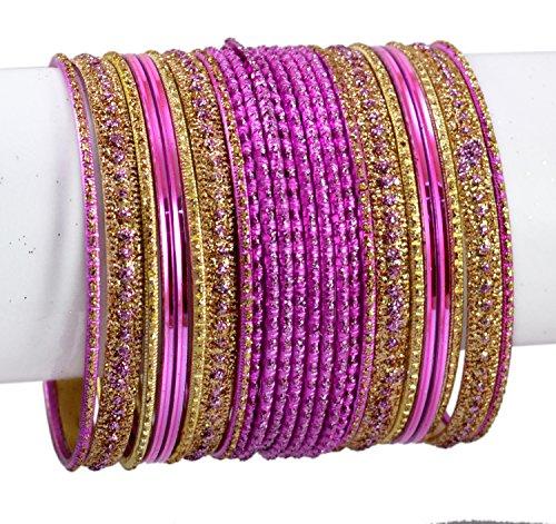 Indischer Armreif, Bollywood-Stil, indisch, modisch, Kundan-Stil, MB508L, Pink