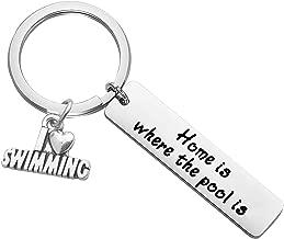 CHOORO Swimming Lover Gift Home is Where The Pool is Swimming Keychain Swim Team Gift
