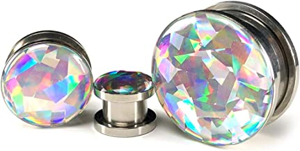 Mystic Metals Body Jewelry Pair of Screw on Holographic Prism Plugs - Sold as a Pair