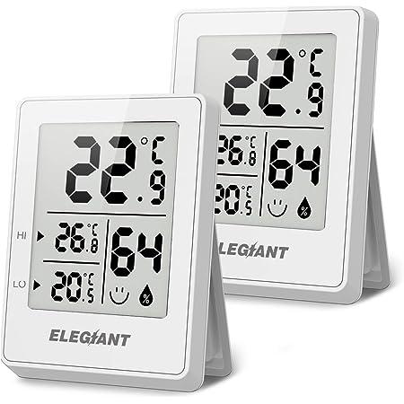 ELEGIANT (2 Piezas Termómetro Higrómetro Digital para Interior, Termohigrómetro Mini Medidor de Temperatura Medidor Profesional de Humedad para Casa, Habitación de Bebés, Sala, Oficina, Blanco