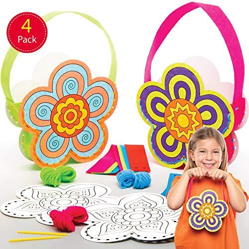 Baker Ross bloemen handtassen naaiset voor kinderen om in te kleuren (4 stuks) creatieve sets om te knutselen en te leren voor de lente