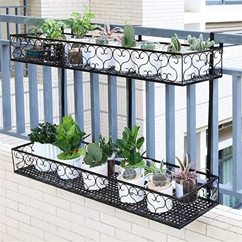 JHKGY 2 Tier IJzeren opknoping plank mand met haken, balkon Bloemenpot Stand Rack Patio Railing Plant Plant Pots Houder Ramen Versieren