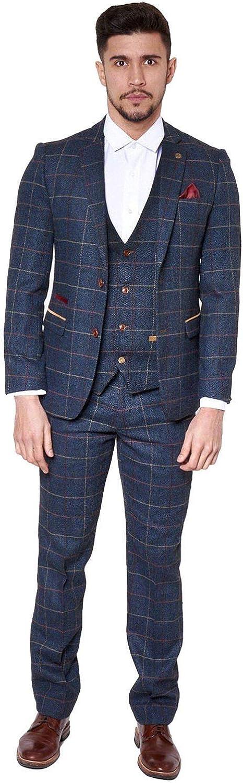 Mens Tweed Wool Suit Slim Fit 3 Pieces Check Plaid Blue Striped Tuxedo Blazer Vest Pant