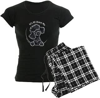 Black Poodle Lover Womens Novelty Cotton Pajama Set, Comfortable PJ Sleepwear