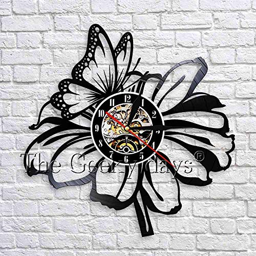 LED-Flower wall clock butterfly modern design vinyl clock natural 3D wall watch floral wall decoration living room bedroom