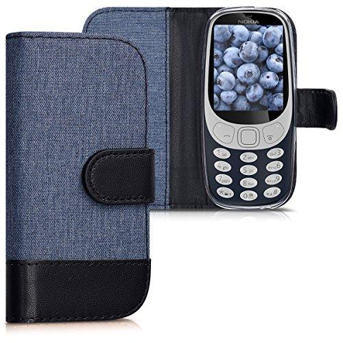 kwmobile, Custodia con apertura a libro e funzione porta carte in simil pelle per Nokia 3310 (2017), Blu scuro/Nero
