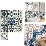 Pegatinas para Azulejos, Impermeable Autoadhesivo Marroquí Azulejos Retro Estilo Victoriano Mosaico Transferencias Azulejos Pegatinas Bricolaje para Cocina Baño Hogar Decoración (15 x 15 cm,B-10PCS)