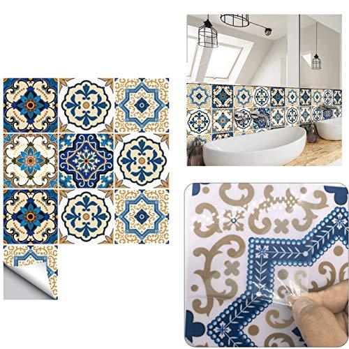 Adesivi per Piastrelle, Autoadesivi Impermeabile Marocchino Adesive retrò Vittoriano Mosaico Stile per Piastrelle Trasferimenti Fai da Te Adesivi per Cucina Bagno Decorazioni (B-30PCS,10 x 10 cm)