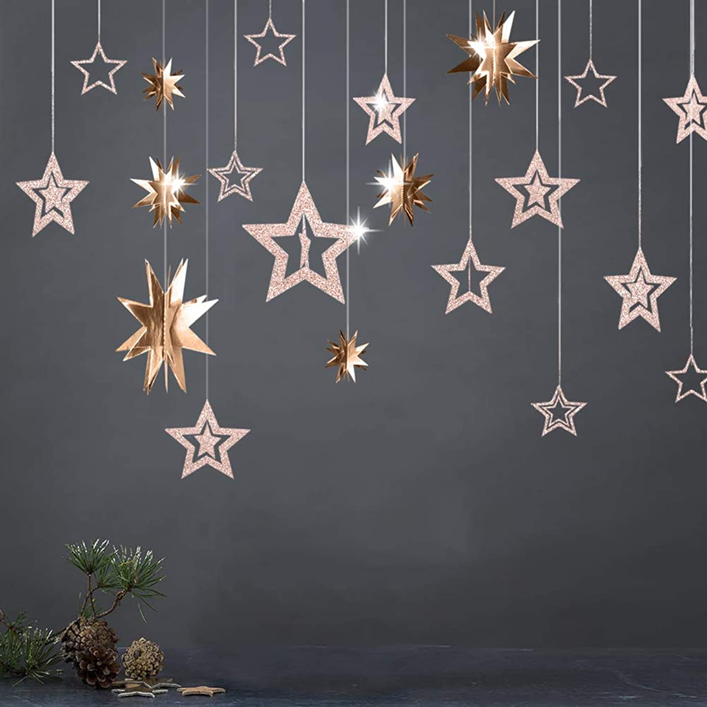 3D Champagne Gold Star Garland and Twinkle Little Star Cutout Hanging Decoration Bunting Banner Party Decor for Birthday/Baby Shower/Kids Boys Girls Room/Home/Christmas/New Year/Wedding Party Supply