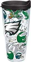 Tervis 1248047 NFL Philadelphia Eagles All Over Tumbler with Wrap and Black Lid 24oz, Clear