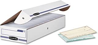 Bankers Box - File Box - Fastfold Stor/file 60% Recycled Check/deposit Slip Storage Box, Flip-Top Closure, 4inh x 9inw x 24ind, White/blue - Box Stor/File Check Storage Boxes