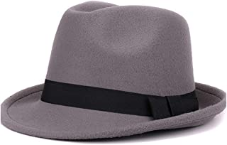 LiJuan Shen Women Men Fedora Hat For Winter Autumn Elegant Lady Gangster Felt Homburg Church Jazz Hat Size 56-58CM