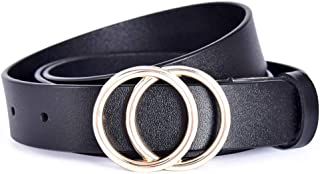 Genuine Leather Belts for Women Double O-Ring buckle Belt for Jeans Pants Dresses